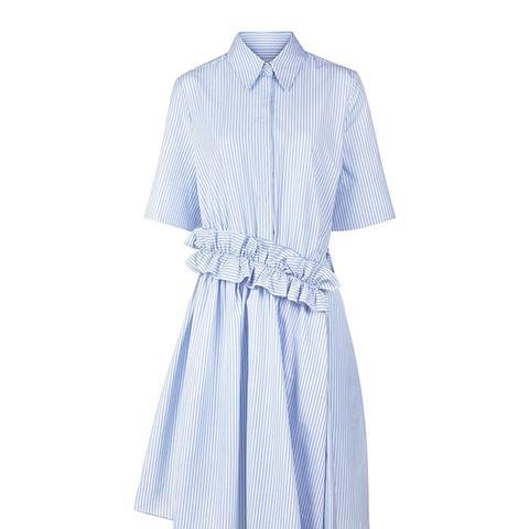 Cotton Stripe Ruffle Shirt Dress