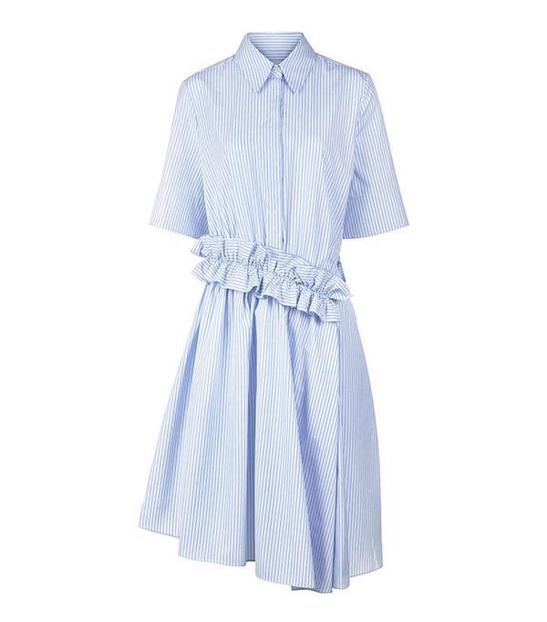 Victoria by Victoria Beckham Cotton Stripe Ruffle Shirt Dress