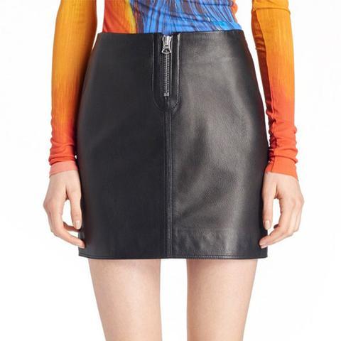 Franca Leather Miniskirt