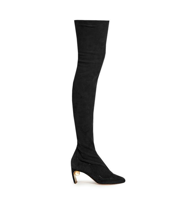 Nicholas Kirkwood Maeva Pearl-Embellishede Suede Over-the-Knee Boots