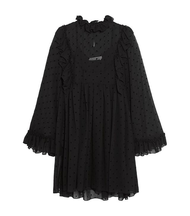 See by Chloe Ruffled Flocked Georgette Mini Dress