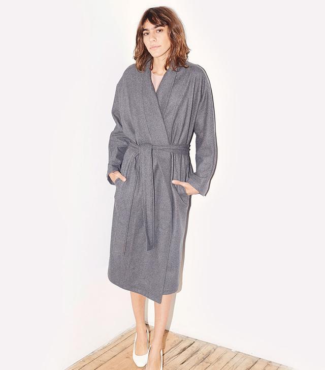 Datura Charcoal Cashmere Wool Kimono-Robe Coat