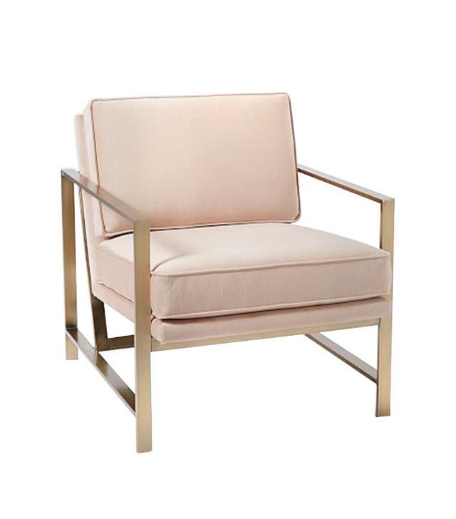 West Elm Metal Frame Upholstered Chair in Lustre Velvet, Dusty Blush