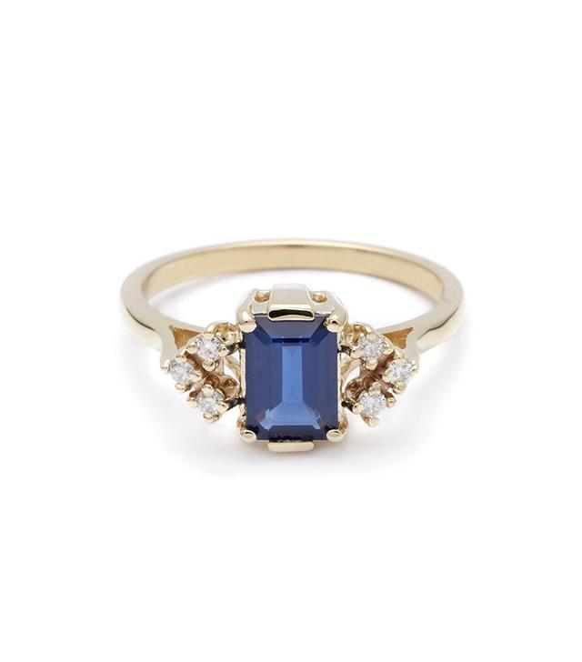 Anna Sheffield Bea Arrow Ring (Petit) - Blue Sapphire & White Diamonds