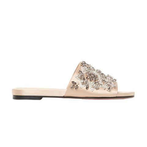 Crystal Embellished Satin Sandals