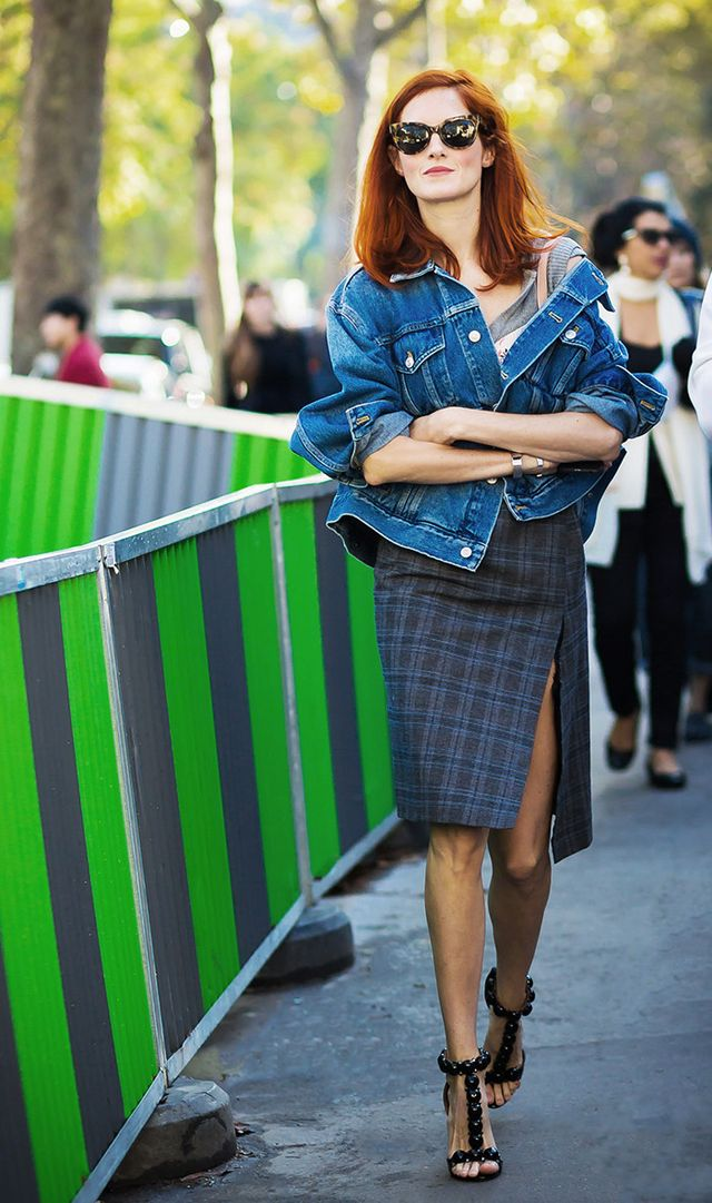 Taylor Tomasi Hill styled her jacket with a tartan dress and Alaïa sandals.