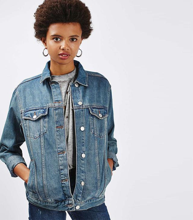 Topshop Moto Oversize Western Denim Jacket