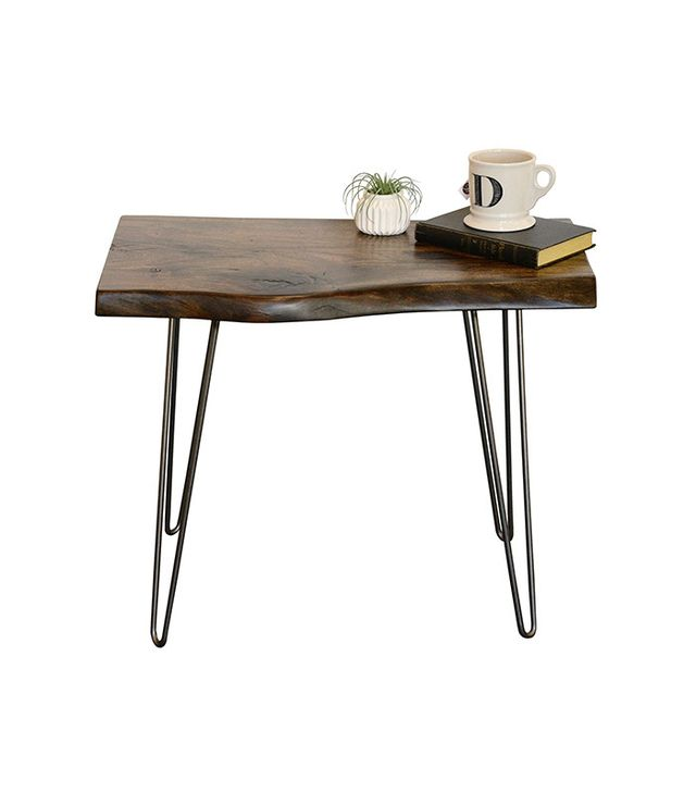 Woodwaves Rustic Distressed Live Edge End Table