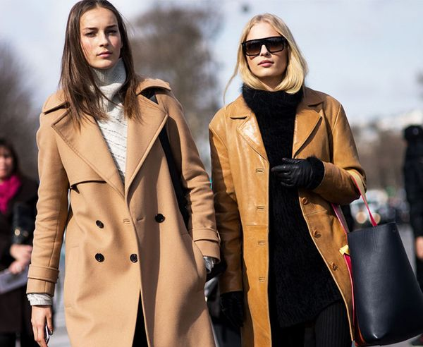 Double the proof that a camel coat looks divine with a neutral-colored turtleneck.