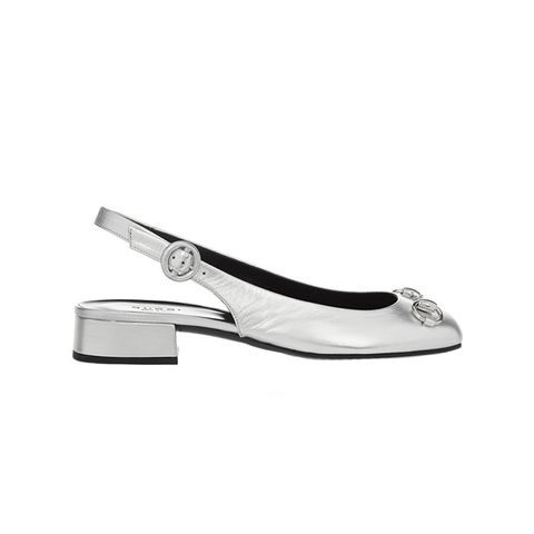 Horsebit-Detailed Metallic Slingback Flats