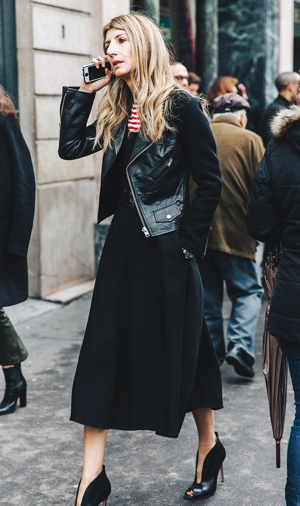 Black dress striped shirt street style
