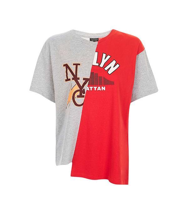 Topshop College Spliced T-Shirt