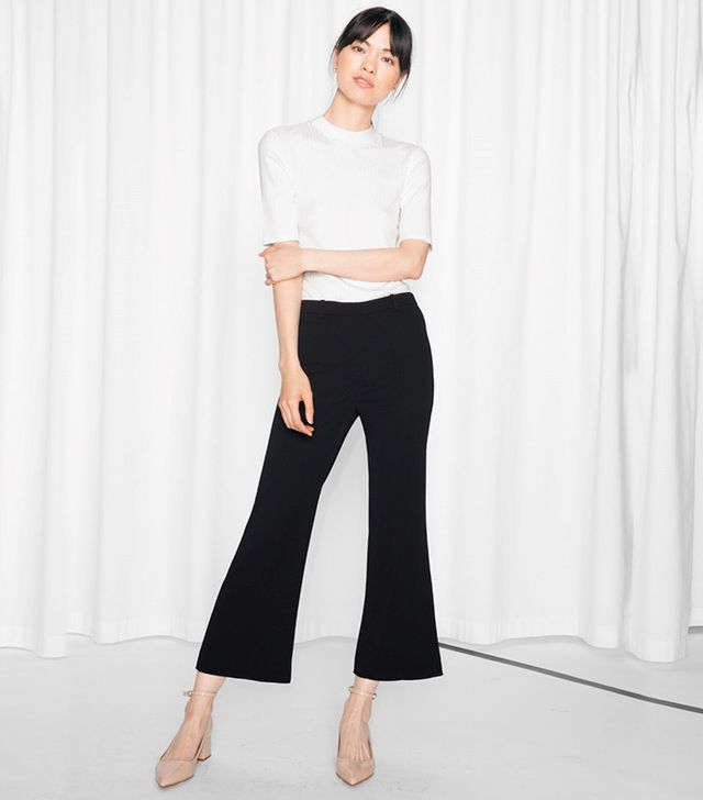 & Other Stories Kick Flare Cropped Trousers