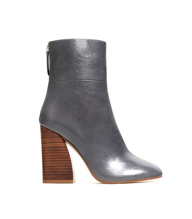Zara Leather Wooden-Heel Ankle Boots