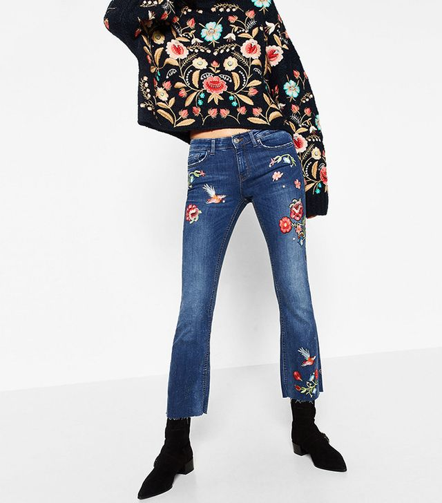 Zara Embroidered Cropped Jeans
