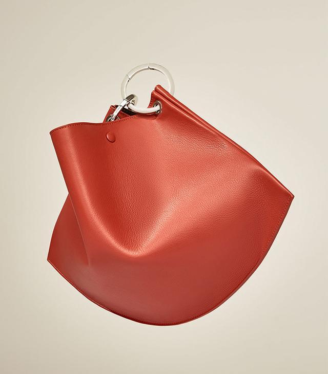 Zara Mini Studio Leather Bucket Bag With Hoops