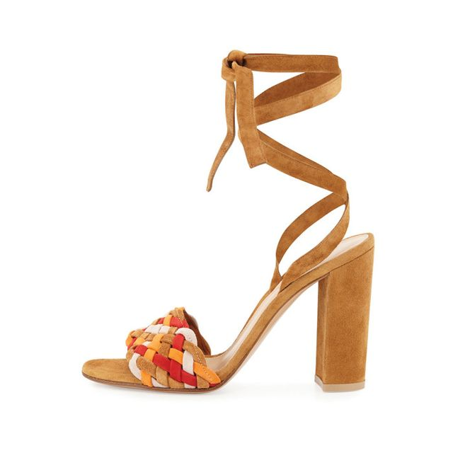 Gianvito Rossi Woven Suede Ankle-Wrap Sandal