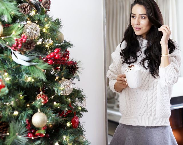 """""""I like to be comfortable, cosy and stylish,"""" the blogger notes. """"Luckily, my wardrobe is full of oversize knits and over-the-knee socks, so I usually live in those pieces this..."""