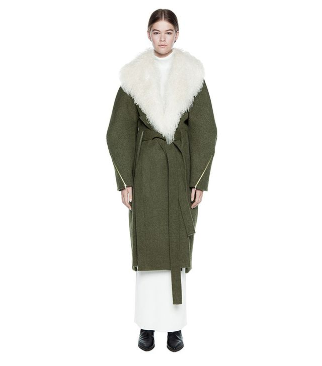Dion Lee Surplus Wool Coat With Shearling