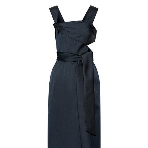 Cutout Knotted Satin Dress