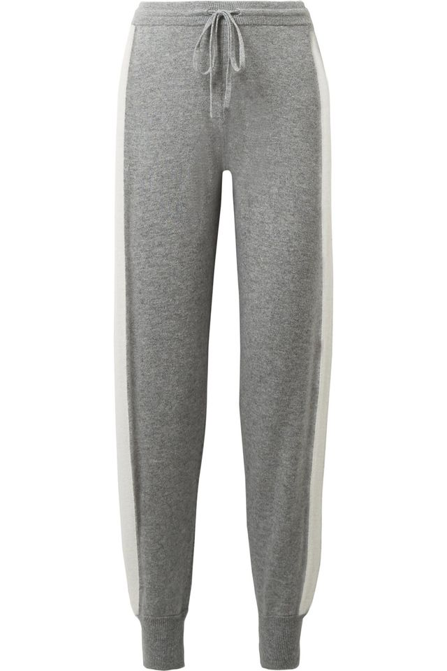 Athletic Striped Cashmere Track Pants