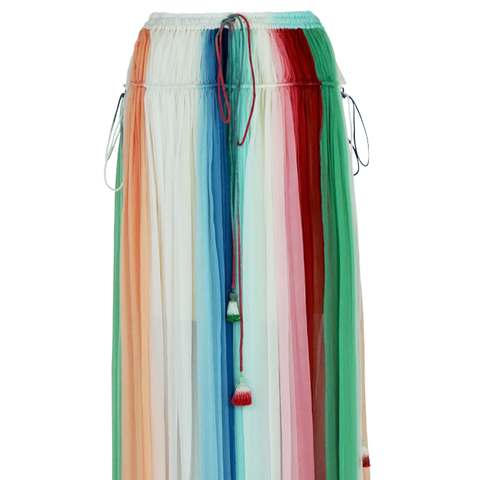 Stripe Silk Crepe Maxi Skirt