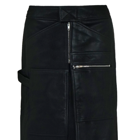 Leather Straight Zip Skirt