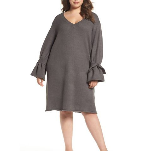 Tie Bell Sleeve Sweater Dress