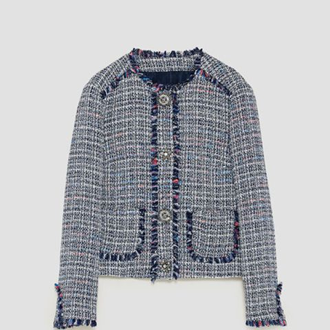 Tweed Jacket With Gem Button