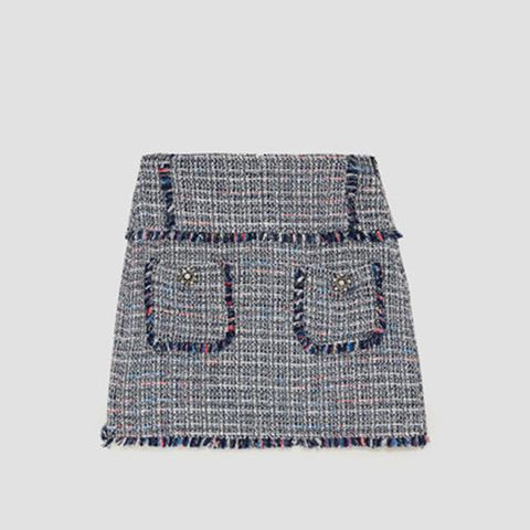 Tweed Skirt With Gem Appliqué