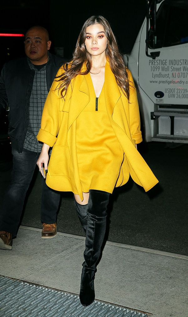 On Hailee Steinfeld: Stuart Weitzman Highlegs Boots ($798) Yellow is a color you can expect to see everywhere in the coming months. Pick up a bold minidress and style it with your...