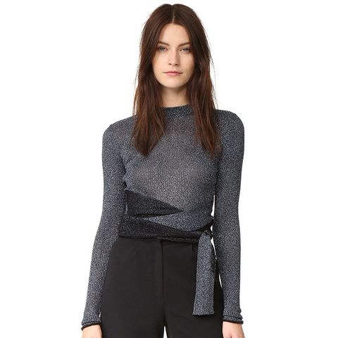 Long Sleeve Metallic Tie Pullover