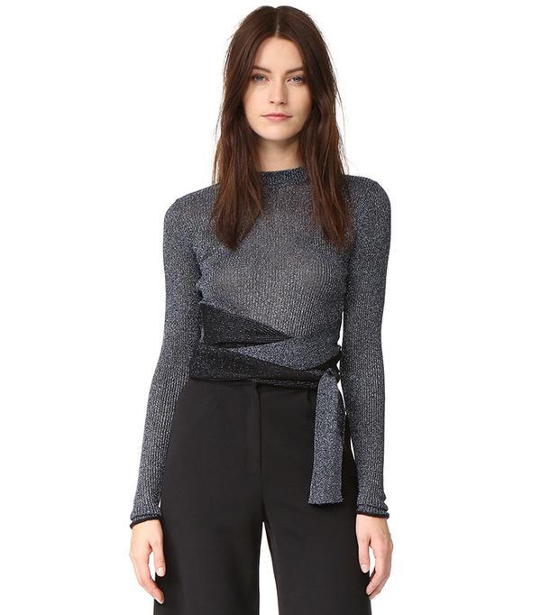 3.1 Phillip Lim Long Sleeve Metallic Tie Pullover