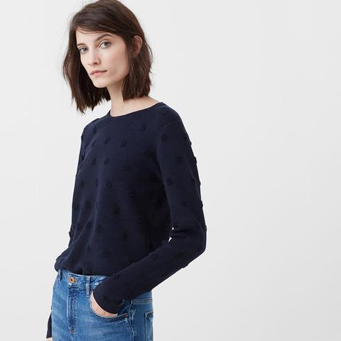 Embossed Polka-Dot Sweater