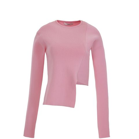 Ribbed Asymmetric Crewneck Sweater