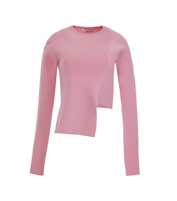 Tibi Ribbed Asymmetric Crewneck Sweater