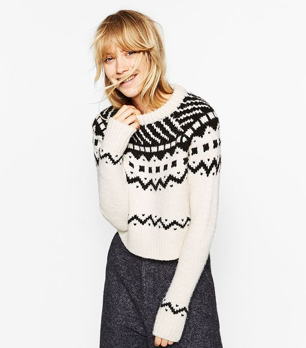 Zara Cropped Jacquard Sweater