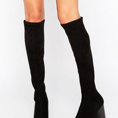 Sock Heeled Knee Boots