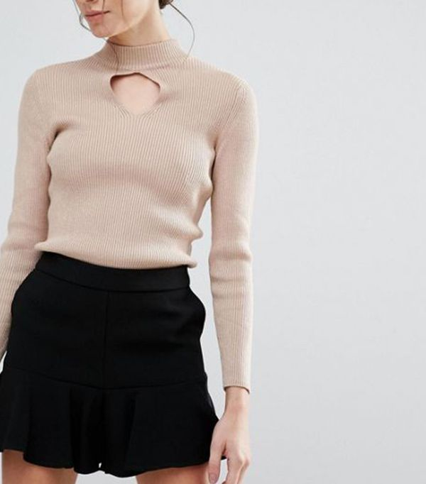 New Look Keyhole Ribbed Sweater