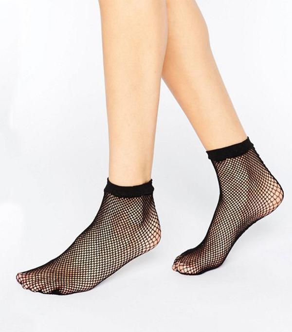 ASOS Fishnet Seam Back Ankle Socks