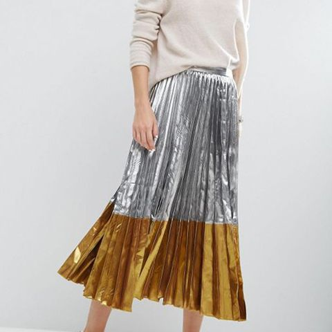 Pleated Midi Skirt in Metallic with Contrast Hem