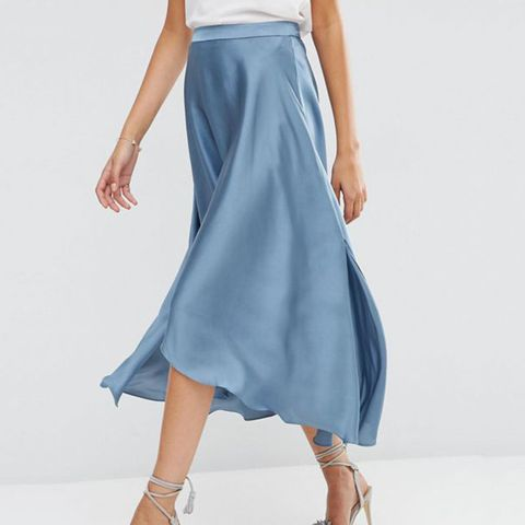 Midi Skirt in Satin with Splices