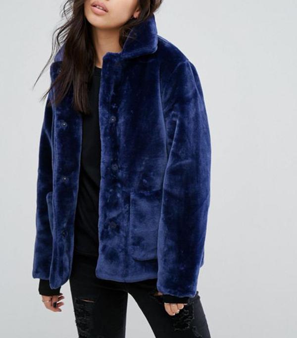 First & I Velvet Jacket With Oversized Pockets