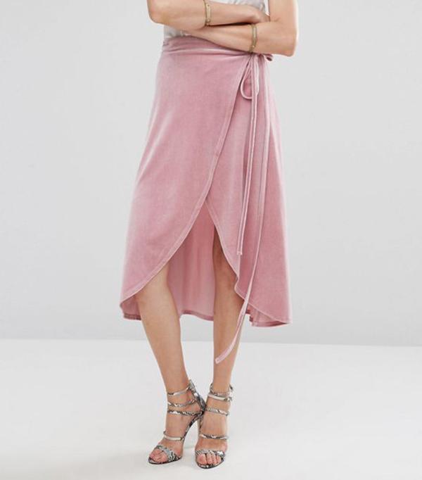 ASOS Wrap Midi Skirt in Velvet