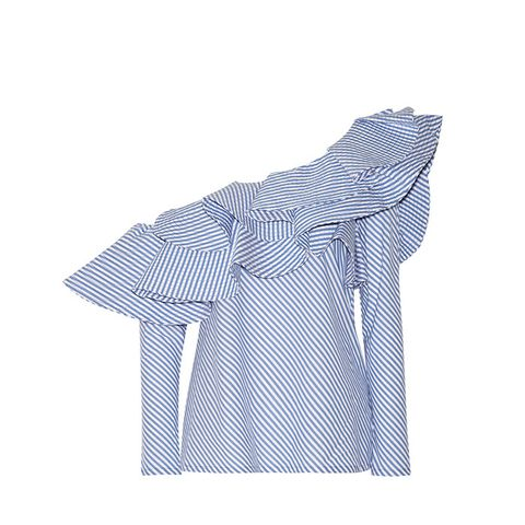 Anastasia One-Shoulder Ruffled Stretch-Cotton Poplin Top