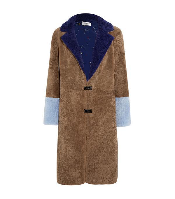 Saks Potts Febbe Color-Block Shearling Coat
