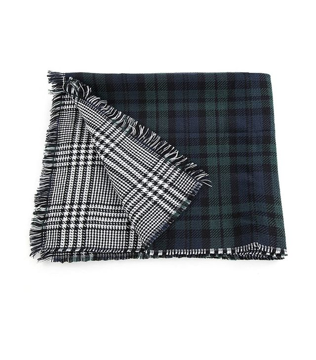 Urban CoCo Women's Soft Tartan Checked Plaid Scarf Shawl Cape Blanket Shawl Wrap Scarf Poncho with Fringe Trims