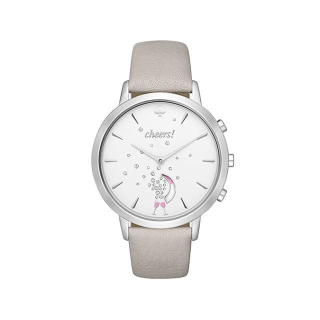 Kate Spade New York Grand Metro Gray Leather Hybrid Smartwatch