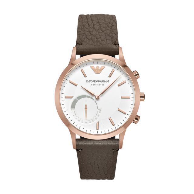 Emporio Armani Men's Renato Hybrid Dark Brown Leather Strap Smartwatch