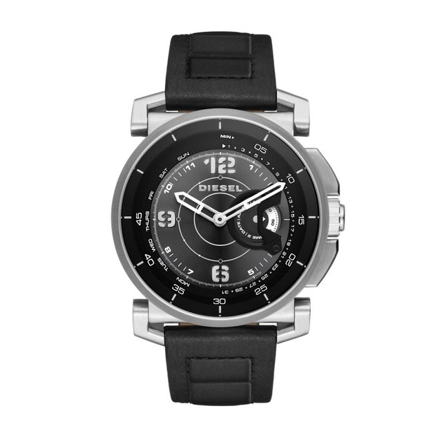 Diesel Men's Hybrid Black Leather Strap